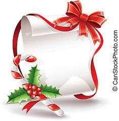 natal, cartão cumprimento, com, caramelo, cana
