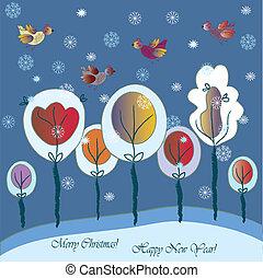 natal, cartão cumprimento, com, fantasia, floresta