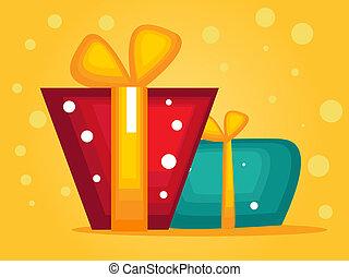 natal, cartão cumprimento, com, presentes
