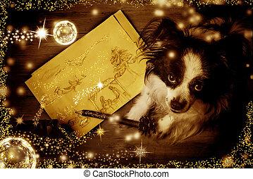 natal, cartões., saudação, cão