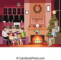 natal., celebrando, família, feliz, feliz