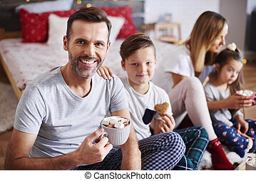 natal celebrando, junto, família home