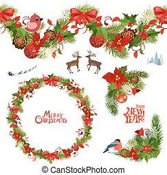 natal, cobrança, de, padrões florais, e, seamless, borda, para