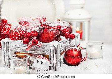 natal, composição, com, maçãs vermelhas, bolas, canela, neve, e, velas