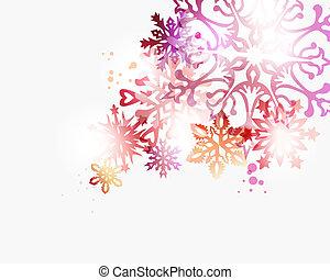 natal, contemporâneo, snowflakes, fundo