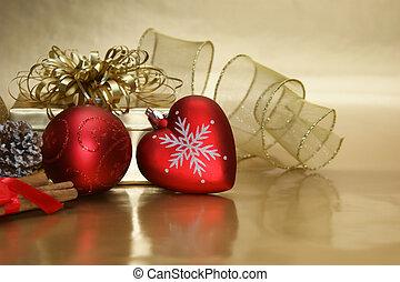 natal, coração, bauble, fundo
