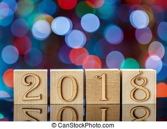 natal, cubos, ligado, obscurecido, azul, experiência., reflexão., a, ano novo, 2018., natal, bokeh.