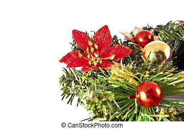 natal., decoração natal, decorações feriado, isolado, branco, fundo