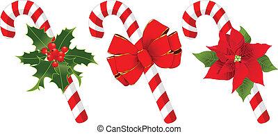 natal, decorado, cana, doce