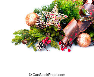 natal, decoration., decorações feriado, isolado, branco
