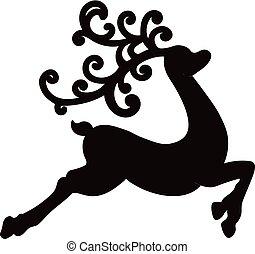 natal, deer., vetorial, ilustração, de, um, pretas, silueta, rena, isolado, branco, fundo
