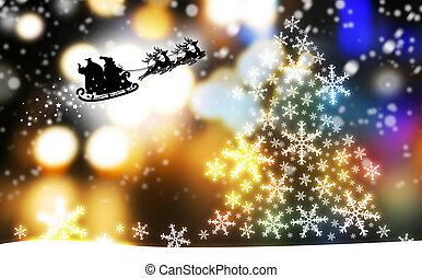 natal, desenho, de, árvore xmas, e, papai noel, com, rena
