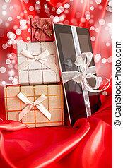 natal, digital, presente, tabuleta