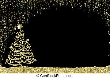 natal, dourado, árvore, card.