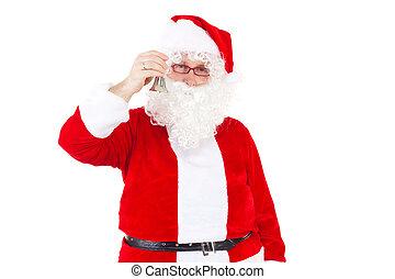 Natal, Duendes, cima,  santa, chamando