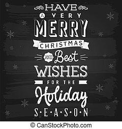 natal, e, estação feriado, saudações, chalkboard