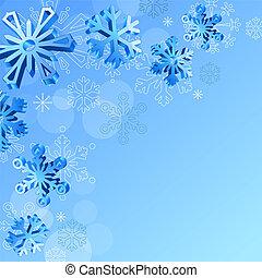 natal, elegante, experiência azul, com, 3d, snowflakes