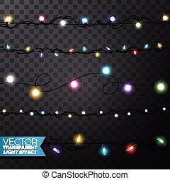 natal, elementos, card., luzes, isolado, xmas, realístico, glowing, desenho, experiência., decorações, guirlandas, feriado, transparente, saudação