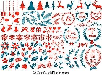natal, elementos, vetorial, desenho