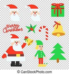 natal, elementos, vetorial, jogo, com, mão, lettering, caligrafia
