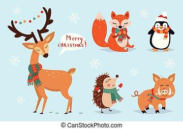 natal, estilo, animais, elements., jogo, -, ilustração, mão, caligrafia, vetorial, desenhado, outro