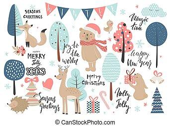 natal, estilo, animais, illustration., elements., jogo, -, mão, caligrafia, vetorial, desenhado, outro
