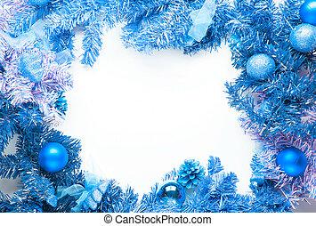 natal, estrutura, azul, abeto