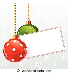 natal, etiqueta, em branco, decorat