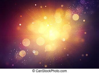 natal, experiência., dourado, feriado, abstratos, defocused, fundo