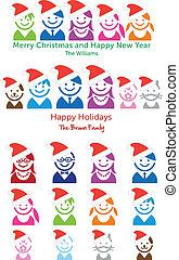 natal familiar, cartão, vetorial, ícones