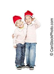 natal feliz, asiático, chapéus, crianças