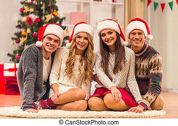 natal, feliz, celebração
