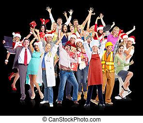 natal feliz, pessoas, group.