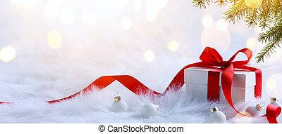 natal, feriados, composição, ligado, luz, fundo, com, espaço...