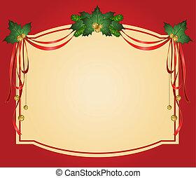 natal, fitas, decorado, quadro