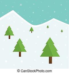 natal, floresta, árvores, inverno