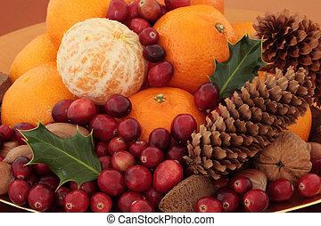 natal, fruta, e, nozes