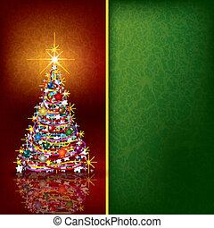 natal, fundo, com, árvore, e, decoração