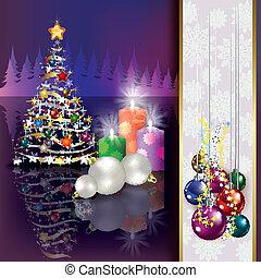 natal, fundo, com, árvore, e, velas