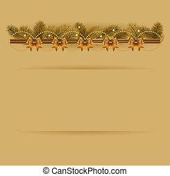 natal, fundo, com, árvore natal, guirlanda, e, bows.,...
