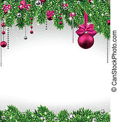 natal, fundo, com, abeto, ramos, e, balls.