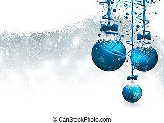 natal, fundo, com, azul, baubles