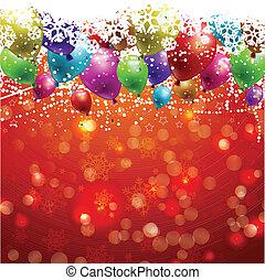 natal, fundo, com, balões