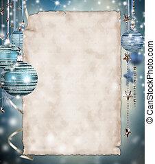 natal, fundo, com, em branco, papel