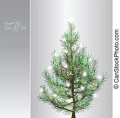 natal, fundo, com, fir-tree., vetorial