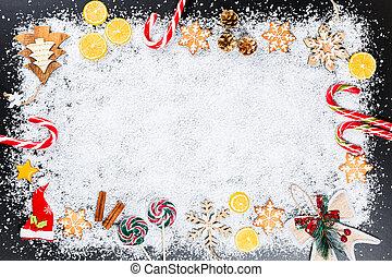 natal, fundo, com, gingerbread, snowflakes, neve branca, brinquedos, limão, doce, e, ano novo, decor., feriado inverno, quadro, ligado, um, pretas, tabela madeira
