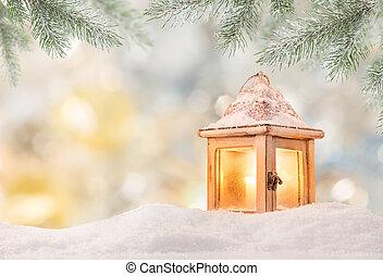natal, fundo, com, lanterna