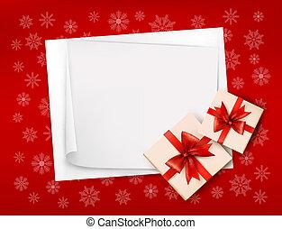 natal, fundo, com, presente boxeia, e, vermelho, bow., vetorial, ilustração