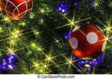 natal, fundo, com, um, vermelho, ornamento
