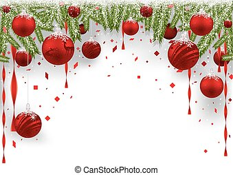 natal, fundo, com, vermelho, baubles